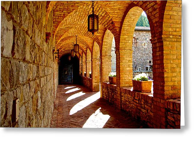 Archway By Courtyard In Castello Di Amorosa In Napa Valley-ca Greeting Card