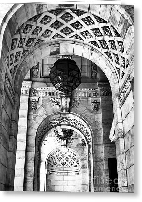 Archways At The Library Bw Greeting Card by John Rizzuto
