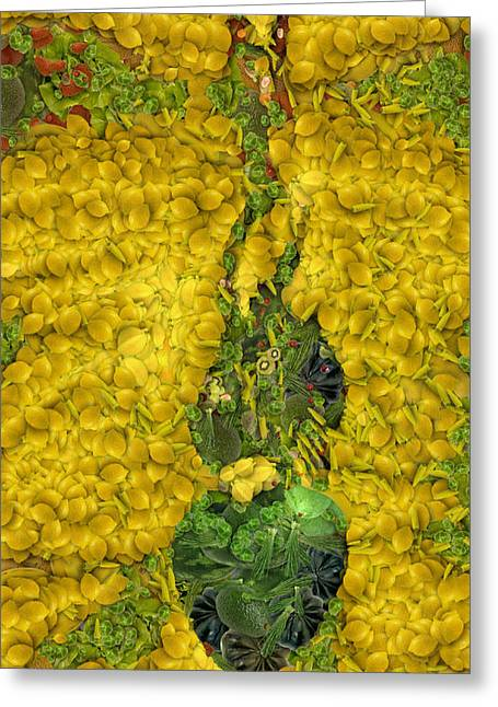 Arcimboldo Vegetable Heart Greeting Card by Lorri Crossno