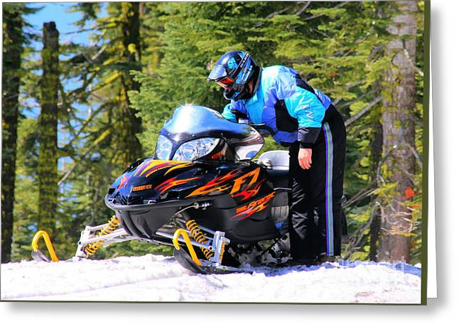 Arctic Cat Snowmobile Greeting Card by Tap On Photo