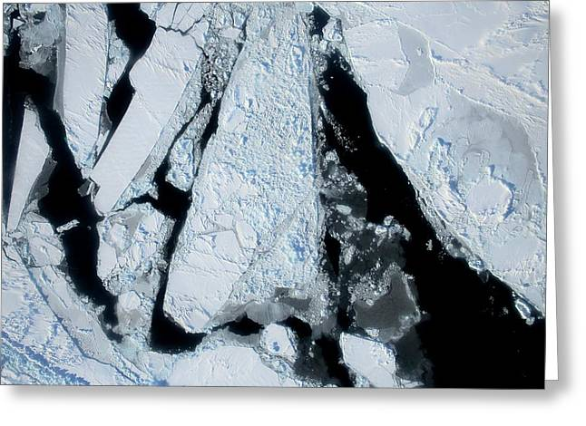 Arctic Sea Ice At Lowest Maximum Greeting Card by Nasa/operation Ice Bridge