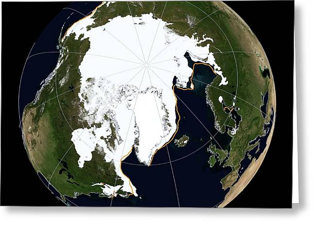 Arctic Sea Ice Maximum Greeting Card by National Snow And Ice Data Center