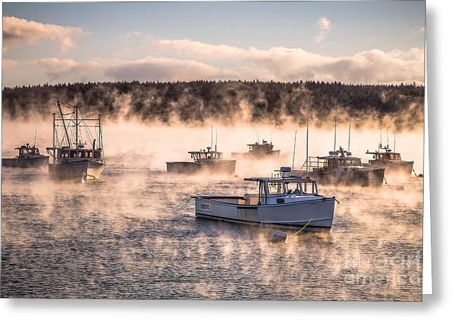Arctic Sea Smoke Greeting Card by Benjamin Williamson