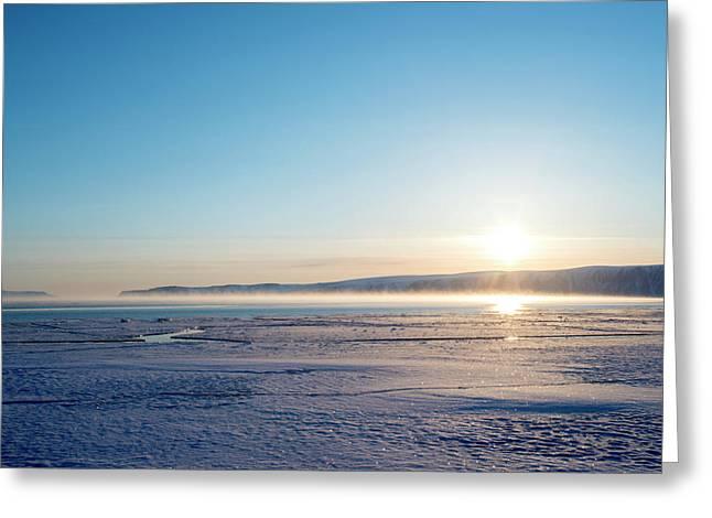 Arctic Sea Smoke Fog Greeting Card