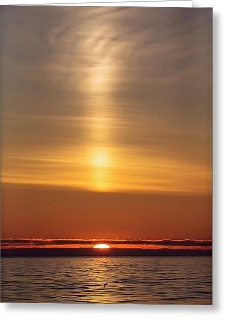 Arctic Sunset With Light Beam Greeting Card