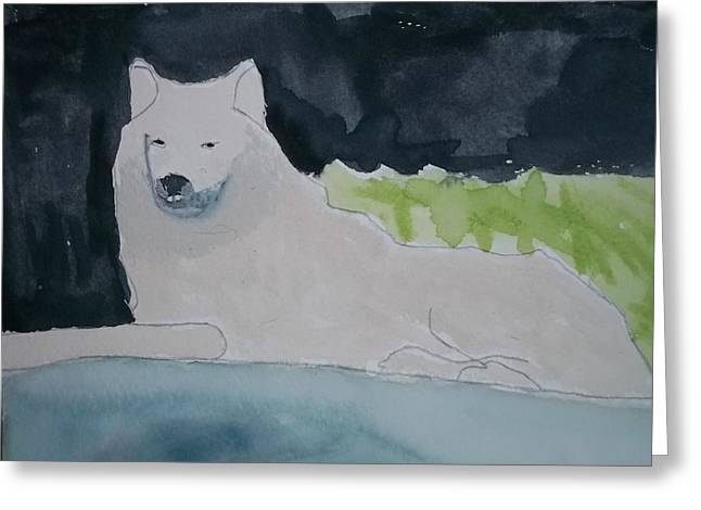Arctic Wolf Watercolor On Paper Greeting Card by William Sahir House