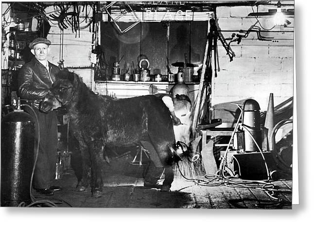 Arcwelding Horseshoes Greeting Card by Underwood Archives