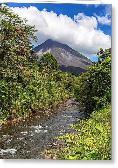 Arenal From The Rio Agua Caliente Greeting Card by Andres Leon