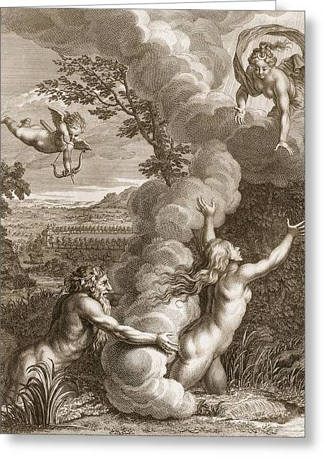 Arethusa Pursued By Alpheus And Turned Greeting Card by Bernard Picart