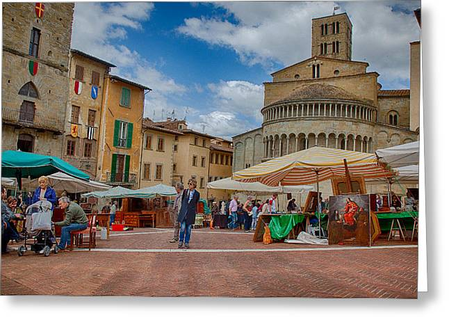 Greeting Card featuring the photograph Arezzo Market Day by Uri Baruch