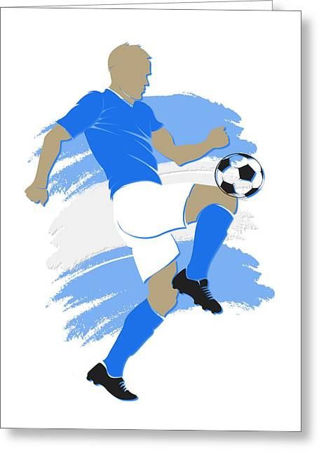 Argentina Soccer Player Greeting Card by Joe Hamilton