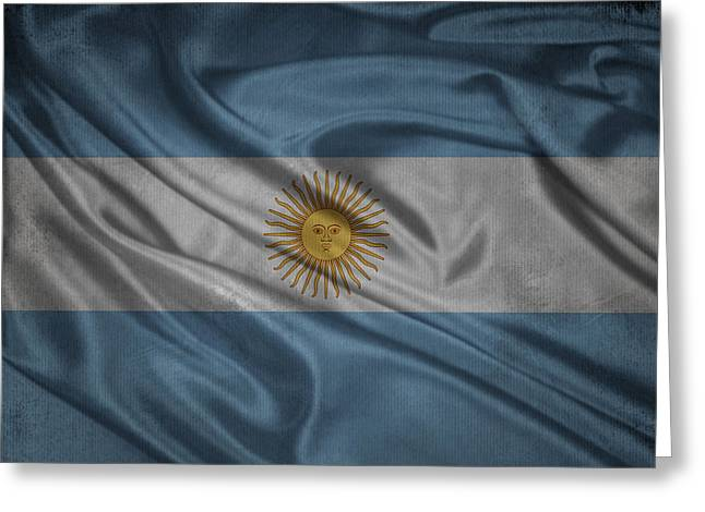 Argentinian Flag Waving On Canvas Greeting Card