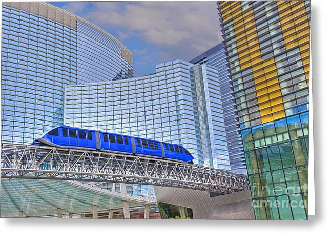Aria Las Vegas Nevada Hotel And Casino Tram  Greeting Card by David Zanzinger