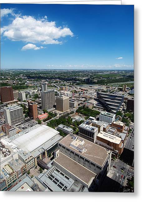 Arial View Of Calgary Facing North East Greeting Card by Lisa Knechtel