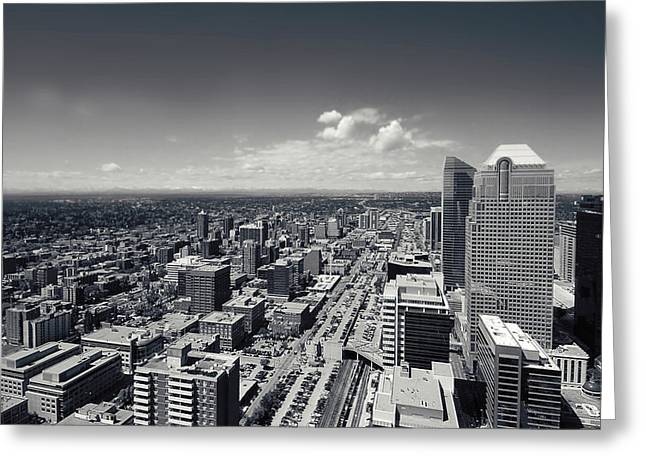 Arial View Of Calgary Facing West Greeting Card