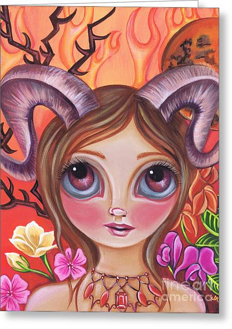 Aries Greeting Card by Jaz Higgins