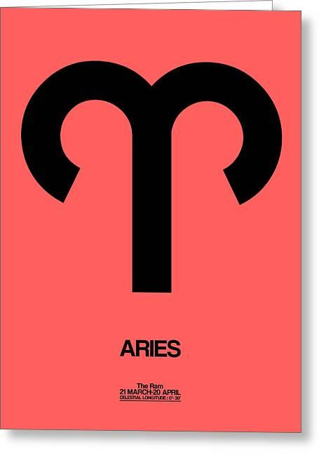 Aries Zodiac Sign Black Greeting Card by Naxart Studio