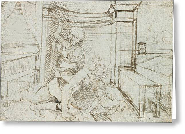 Aristotle And Phyllis Greeting Card by Leonardo Da Vinci