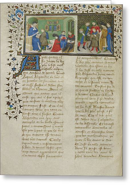 Aristotle Instructing Alexander Greeting Card by British Library