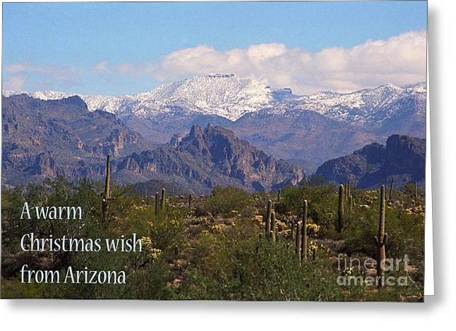 Arizona Christmas Card - Superstitions With Snow Greeting Card by Kathy McClure