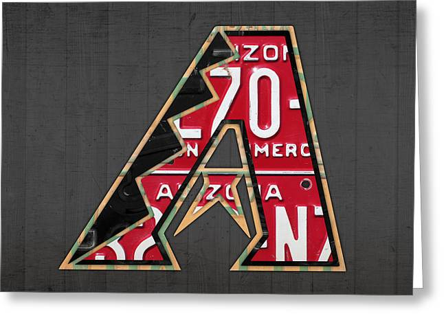 Arizona Diamondbacks Baseball Team Vintage Logo Recycled License Plate Art Greeting Card