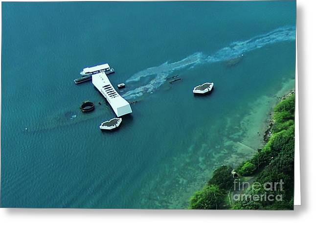 Arizona Memorial From Above Greeting Card by Brigitte Emme
