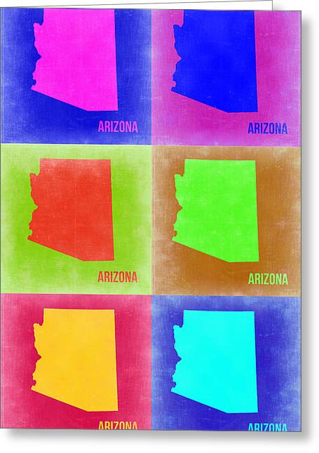 Arizona Pop Art Map 2 Greeting Card by Naxart Studio