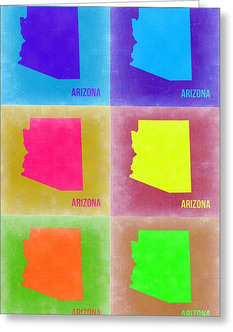 Arizona Pop Art Map 4 Greeting Card by Naxart Studio