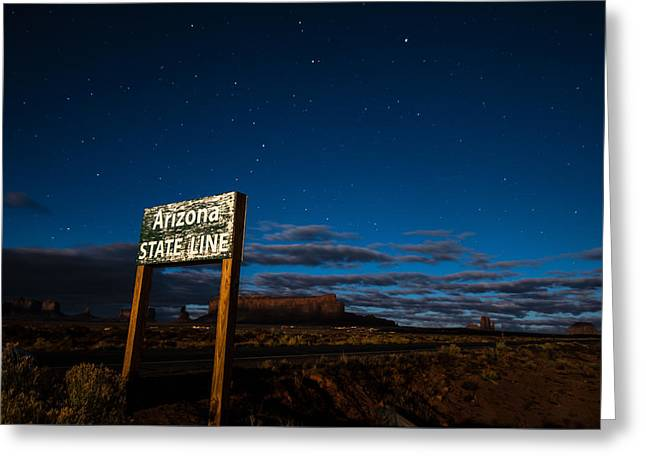 Arizona State Line In Monument Valley At Night Greeting Card