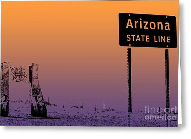 Arizona State Line Usa Greeting Card by Janice Rae Pariza