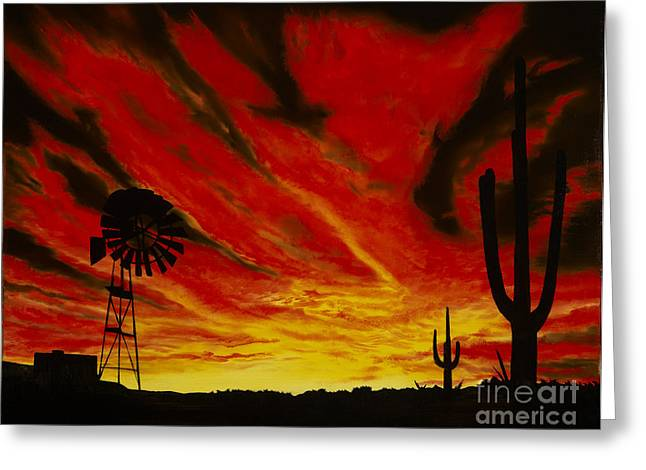 Greeting Card featuring the painting Arizona Sunset by Stuart Engel