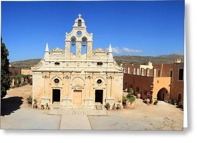 Arkadi Monastery In Crete Greeting Card by Paul Cowan
