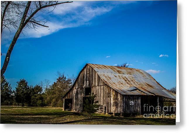 Arkansas Barn And Blue Skies Greeting Card by Jim McCain