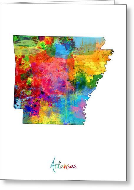 Arkansas Map Greeting Card by Michael Tompsett