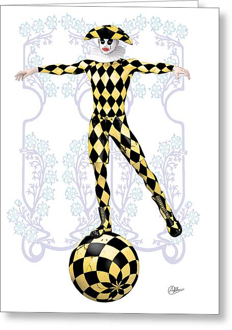 Harlequin Tightrope Greeting Card by Quim Abella