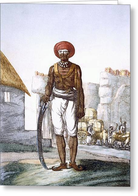 Armed Guard Of The Brijbasis Tribe Greeting Card by Franz Balthazar Solvyns