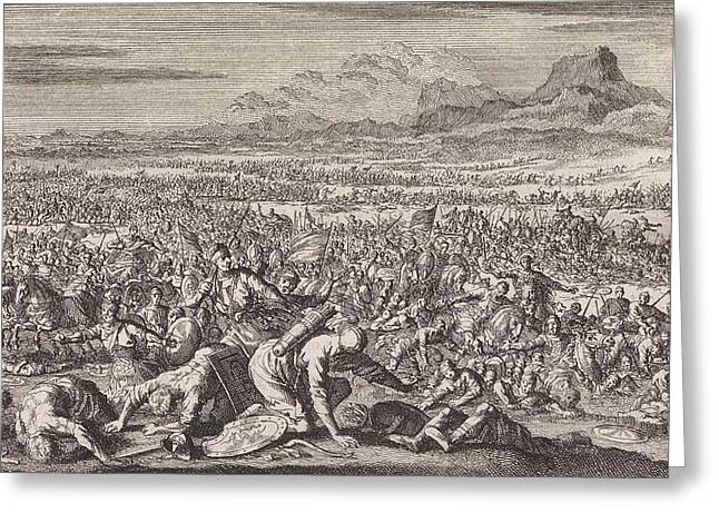 Armies Of Sodom And Gomorrah Defeated, Jan Luyken Greeting Card by Jan Luyken And Pieter Mortier