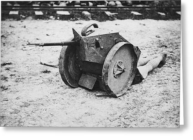Armored Sniper Post Greeting Card by Underwood Archives