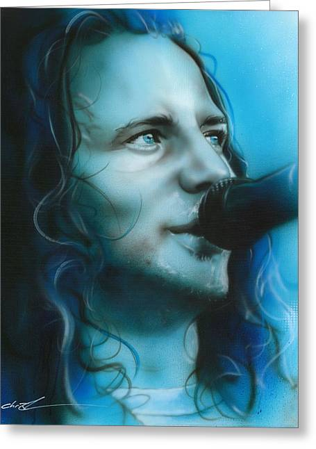 Eddie Vedder - ' Arms Raised In A V ' Greeting Card by Christian Chapman Art