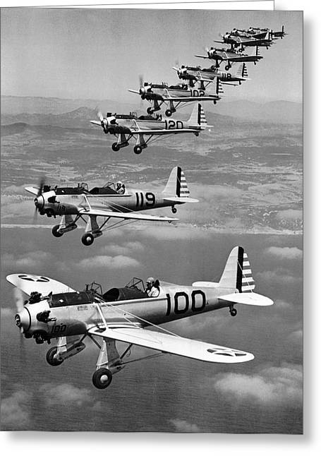 Army Air Corp Planes Greeting Card by Underwood Archives
