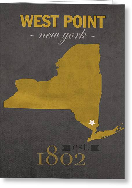 Army Black Knights West Point New York Usma College Town State Map Poster Series No 015 Greeting Card