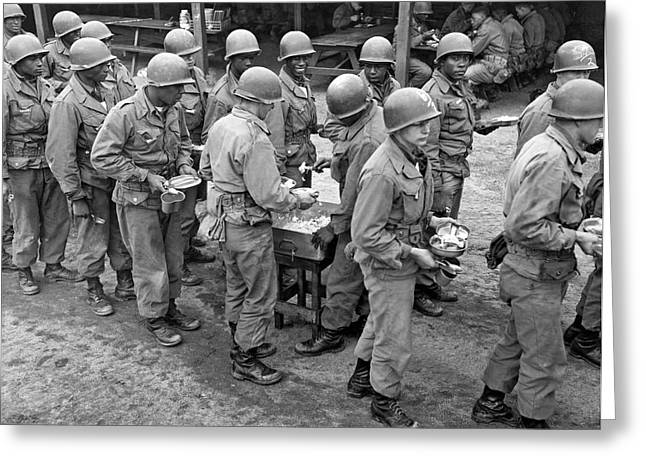 Army Chow Line Greeting Card
