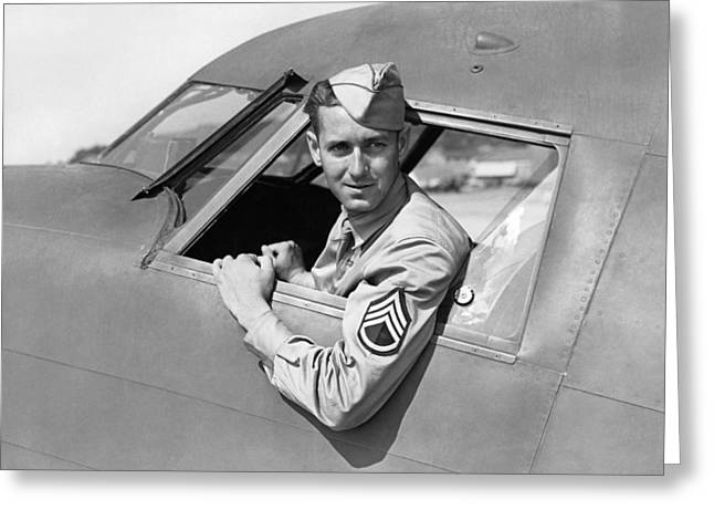 Army Pilot Looking Out Window Greeting Card by Underwood Archives