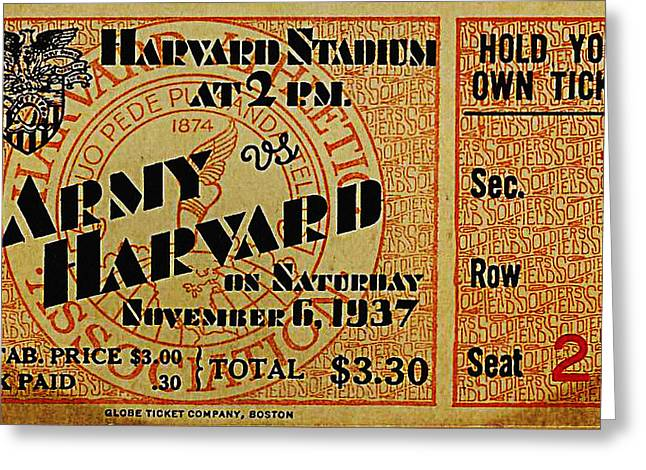 Army Vs Harvard 1937 Ticket Stub Greeting Card by Bill Cannon