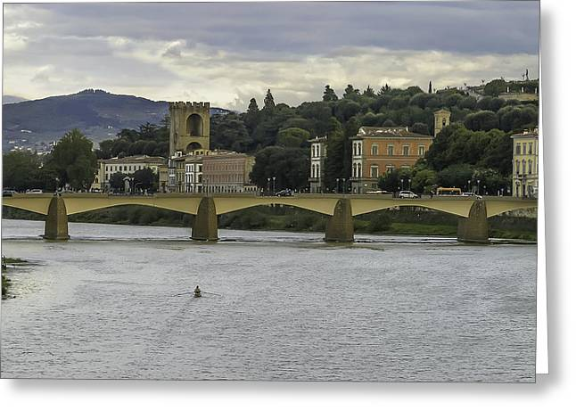 Arno River And Architecture In Florence Greeting Card