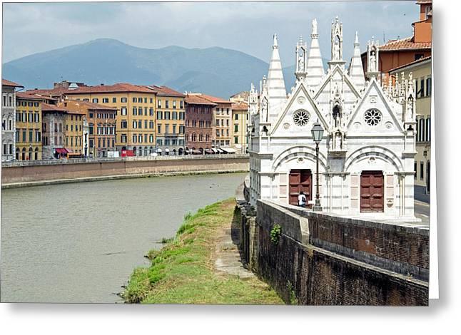 Arno River And Santa Maria Della Spina Greeting Card by Nico Tondini