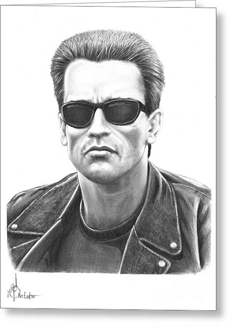 Arnold Schwarzenegger Terminator Greeting Card by Murphy Elliott