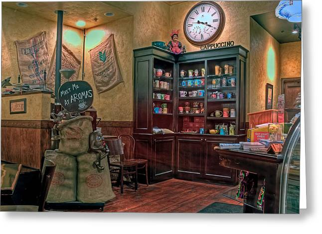 Greeting Card featuring the photograph Aromas Coffee Shop Newport News Virginia by Jerry Gammon