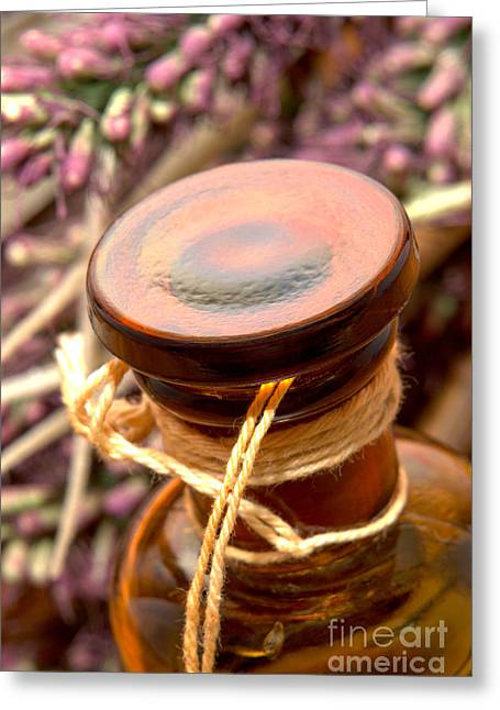 Aromatherapy Bottle Greeting Card by Olivier Le Queinec