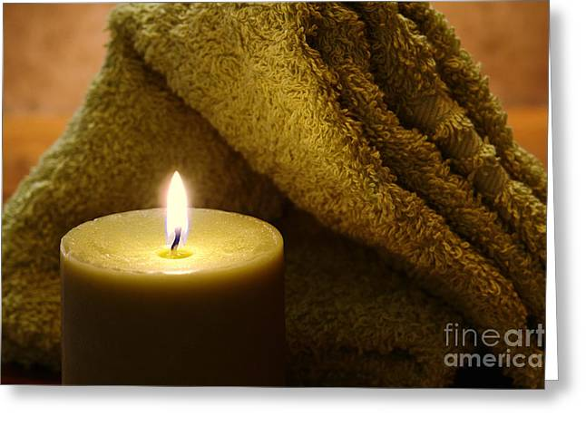 Aromatherapy Candle And Towel Greeting Card by Olivier Le Queinec
